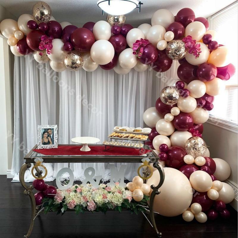 Chá de fraldas 124 pçs ouro confetes pele vinho s garland 1 kit aniversário casamento dia dos namorados aniversário festa decoração