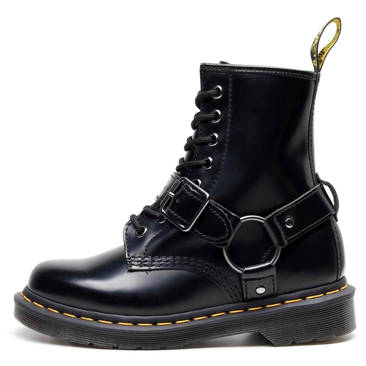 Мужские и женские ботильоны с пряжкой Martens, кожаные ботинки с круглым носком, мотоциклетная обувь