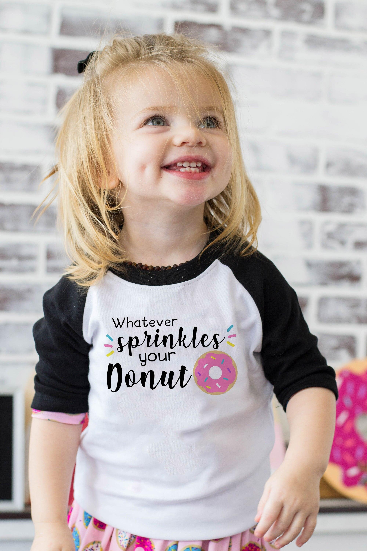 Rosquinha projeto 10 Ralgan Worry Be Happy Bonito Impressão Meninas Do Bebê Manga Longa T-shirt Engraçado Camiseta Crianças Kawaii Rosquinha tops Pano