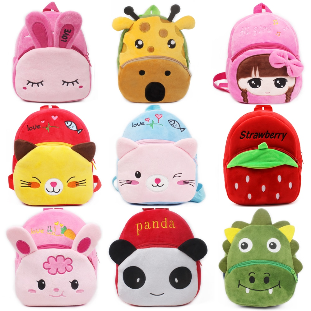 Fashion Children School Bags 3D Cartoon Print Plush Kids Backpack Kindergarten Boys and Girls School
