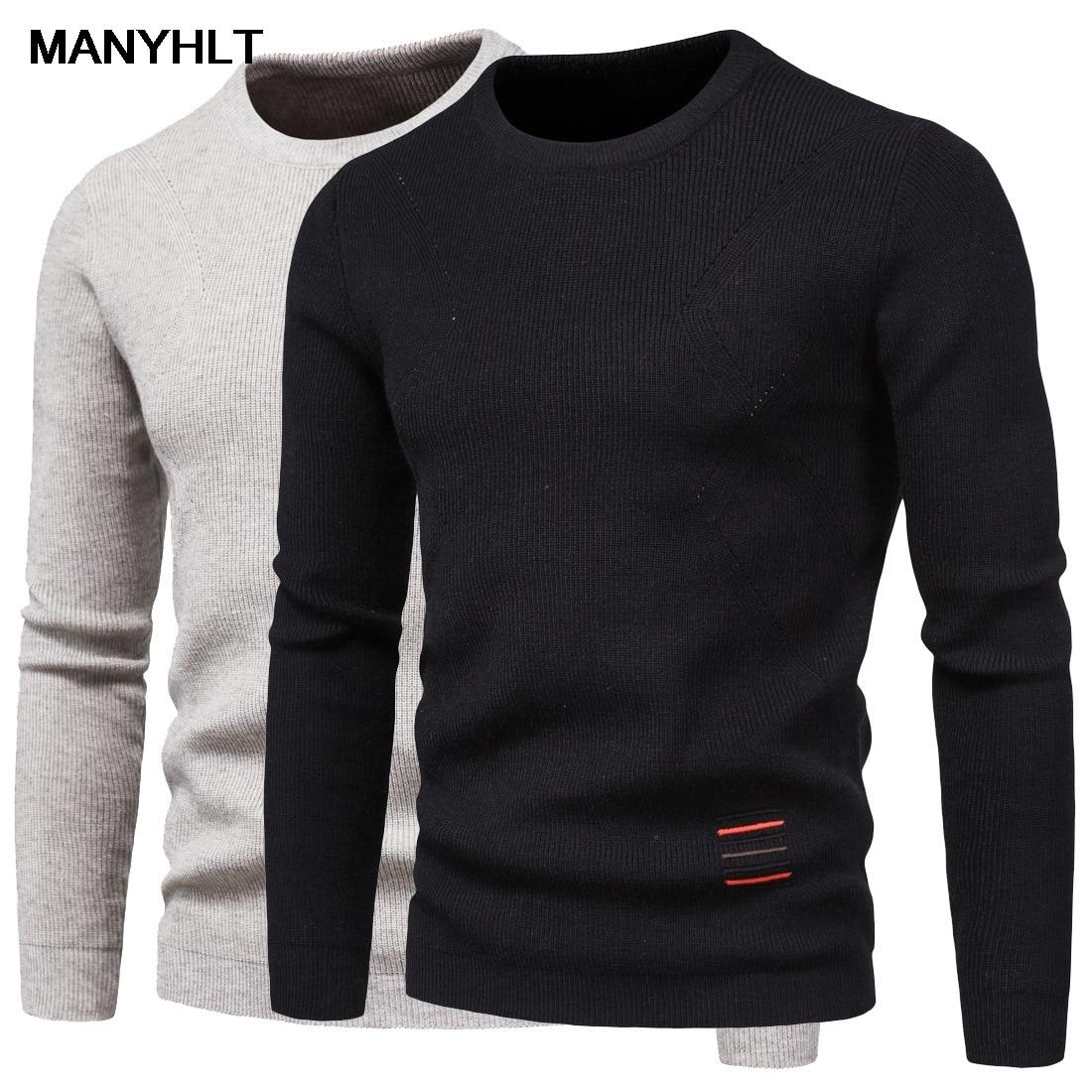Мужские облегающие пуловеры, высококачественные пуловеры, мужские эластичные повседневные свитеры, однотонные черные свитеры с круглым вы...