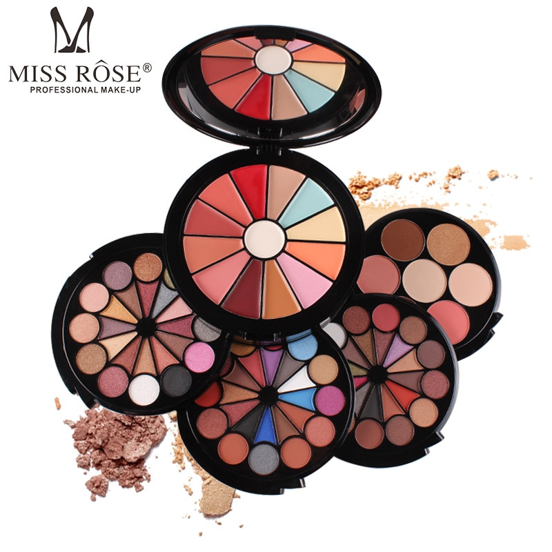 MISS ROSE Five-in-One Eye Shadow Disc Set Makeup Box Trim Blush Concealer Highlight Stereo Cosmetic Gift for Women Hot Selling
