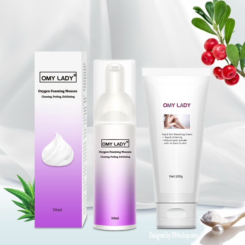 Omy LADY Foam Mousse With Rapid Skin Bleaching Cream Whitening Natural Brightening Cleaning Peeling Skin Care