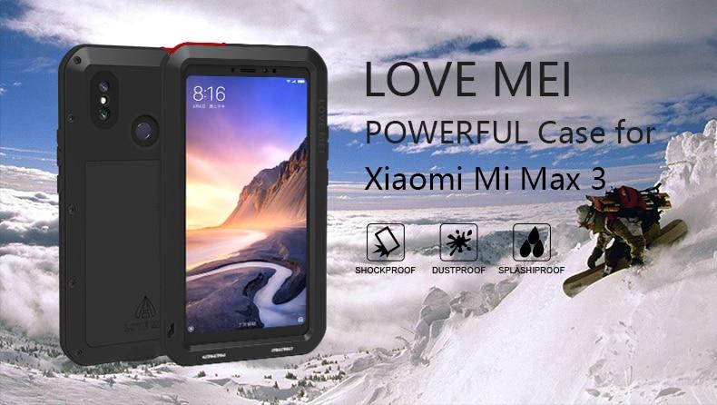 Love Mei حافظة قوية لهاتف شاومي Mi Max 3 بريميوم مقاوم للماء مقاوم للصدمات من الألومنيوم لهاتف شاومي max3 زجاج مقسى مجاني