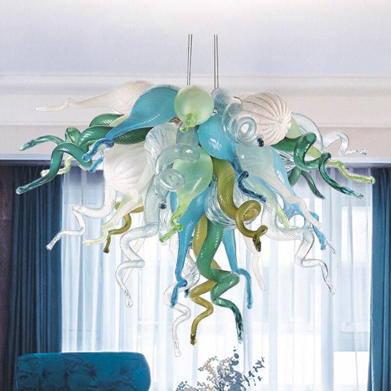 Современные цепи подвесной светильник Теплый арт Стекло цветок люстры с подсветкой светильник s Murano Стекло люстра Гостиная украшения