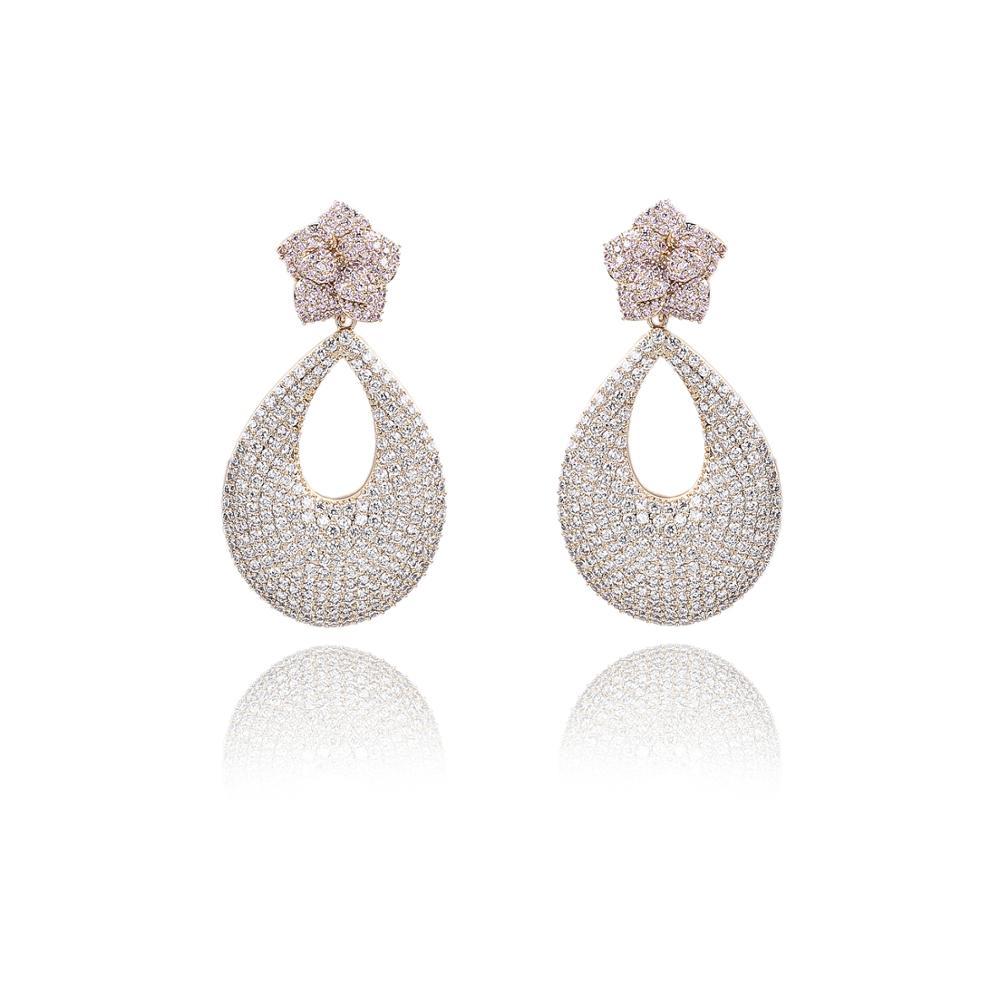 Pendientes de gota de circonio cúbico para boda, Pendientes colgantes de cristales para novia, regalo de chica para mujer CE10911