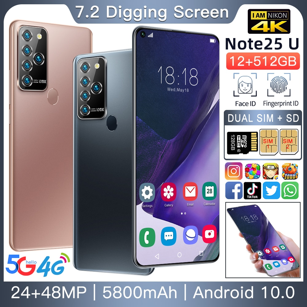 Note25U Global Version 7.2inch Smart phone 16GB 512GB ROM 24+48MP Android 10.0 GPS Face recognition Mobile Phone