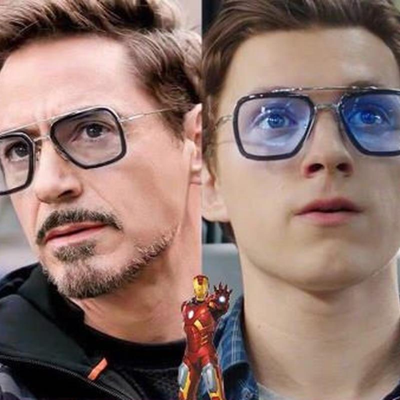 Trendy Fashion Iron Man Sunglasses Bright Black Tony Stark Sun Glasses Polarized Shade Mirror Men An