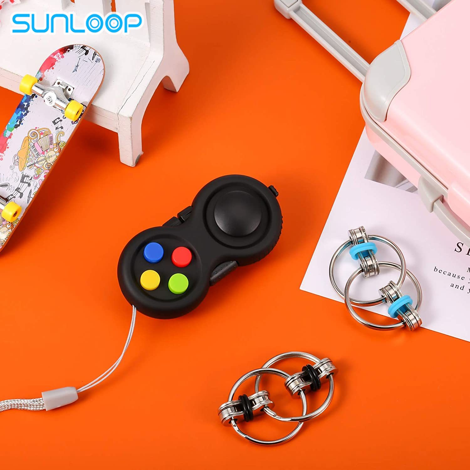 3PCS Handheld Mini Fidget Toy Set Cam Fidget Controller Pad and Flippy Chain Flippy Relief Toy for Teen Adults with ADHD Autism enlarge