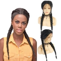 black braided wigs with baby hair high temperature fiber synthetic lace front wig for women natural 2x twist double braids wigs
