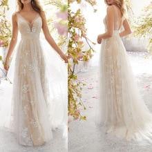 V 넥 웨딩 파티 라이트 샴페인 플로어 길이 오픈 백 민소매 레이스 Tulle 라인 백리스 브라 드레스 Vestido De Noiva