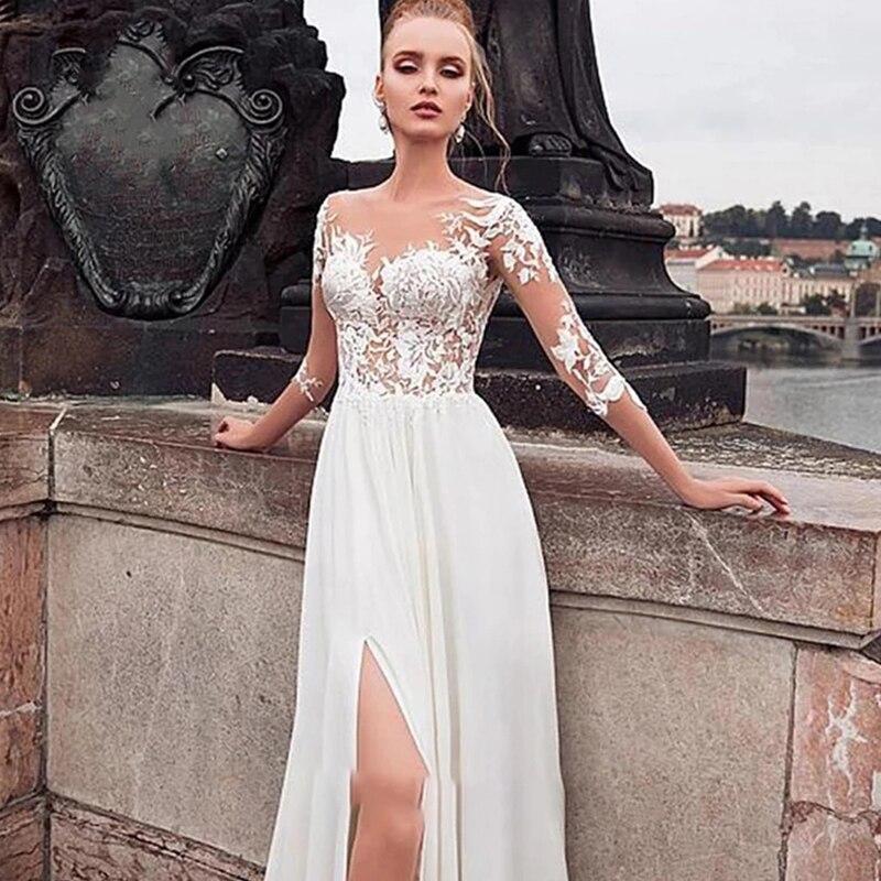 Promo Wedding dressE Simple chiffon long sleeve wedding dresses 2021 vintage v-neck bride dress backless buttons custom made