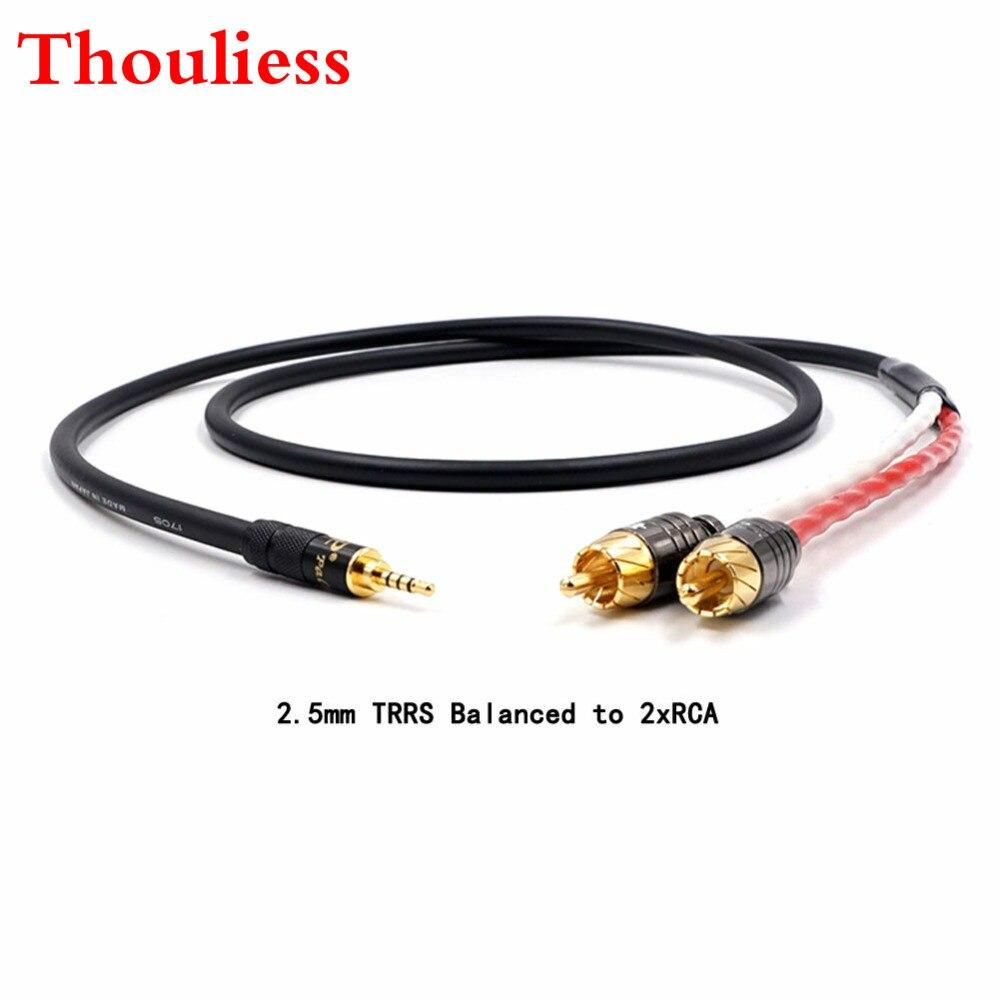 Thouliess ايفي 2.5/3.5/4.4 مللي متر متوازن الذكور إلى 2 RCA ذكر الصوت محول كابل 7N أورينت الكريستال واحد copperr الصوت كابل
