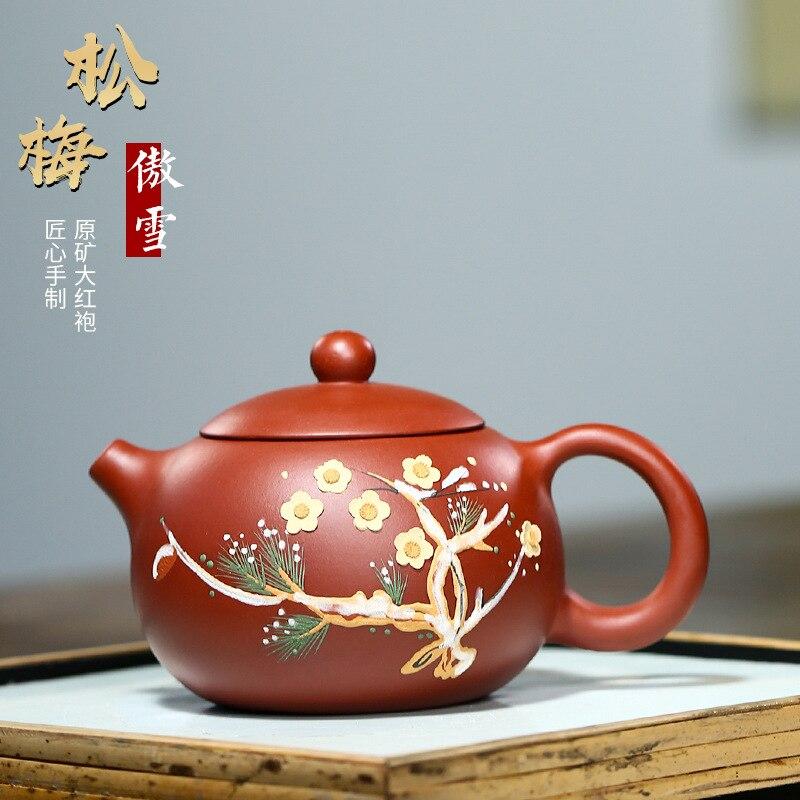 صنع الشاي إبريق الشاي ييشينغ الأرجواني الطين إبريق الشاي المنشأ zhidahongpao اليد رسمت إكسيشي إبريق
