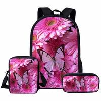 WHEREISART 3Pcs/Set Pretty Butterfly School Bag Sets Schoolbag for Teenager Girls Children School Bookbag Kindergarten Backpack