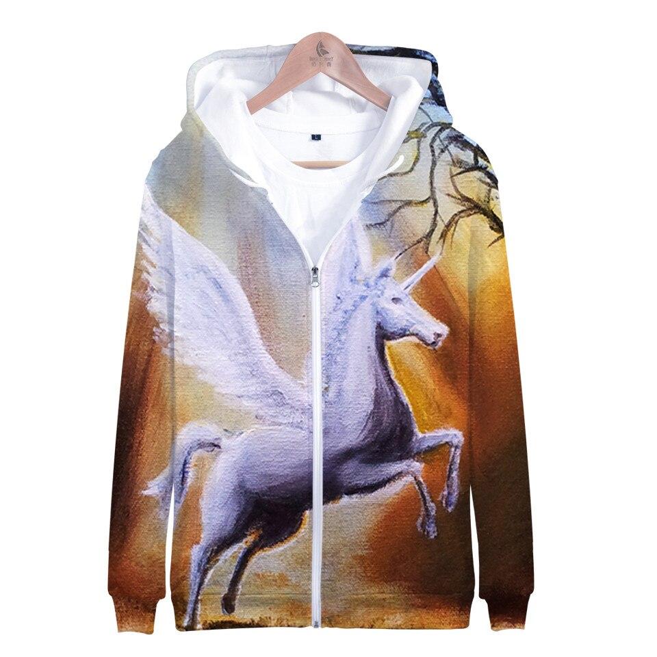 Licorne 3D fermeture éclair imprimée à capuche garçons filles mode à manches longues sweat à capuche offre spéciale Harajuku veste manteau marque vêtements