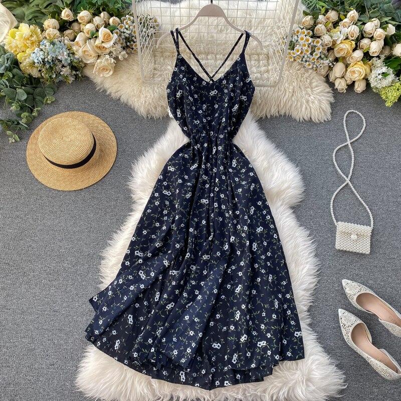 Boho 2020 Vintage floral print Dress Summer spaghetti strap Party long chiffon dot Women beach sexy v neck split backless Dress