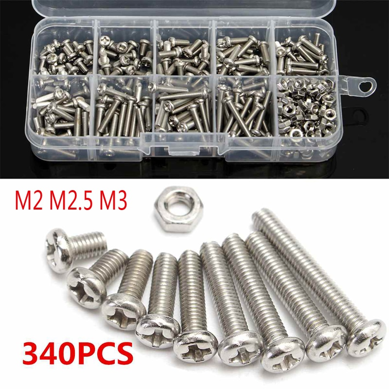 340pcs M3 M2 M2.5 304 Stainless Steel Cross-headSet Screw Bolts Nut Cap Head Screw Set Fastener Asso