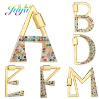 juya diy rainbow alphabet initial letter pendant carabiner fastener screw lock clasp accessories for pendant name jewelry making
