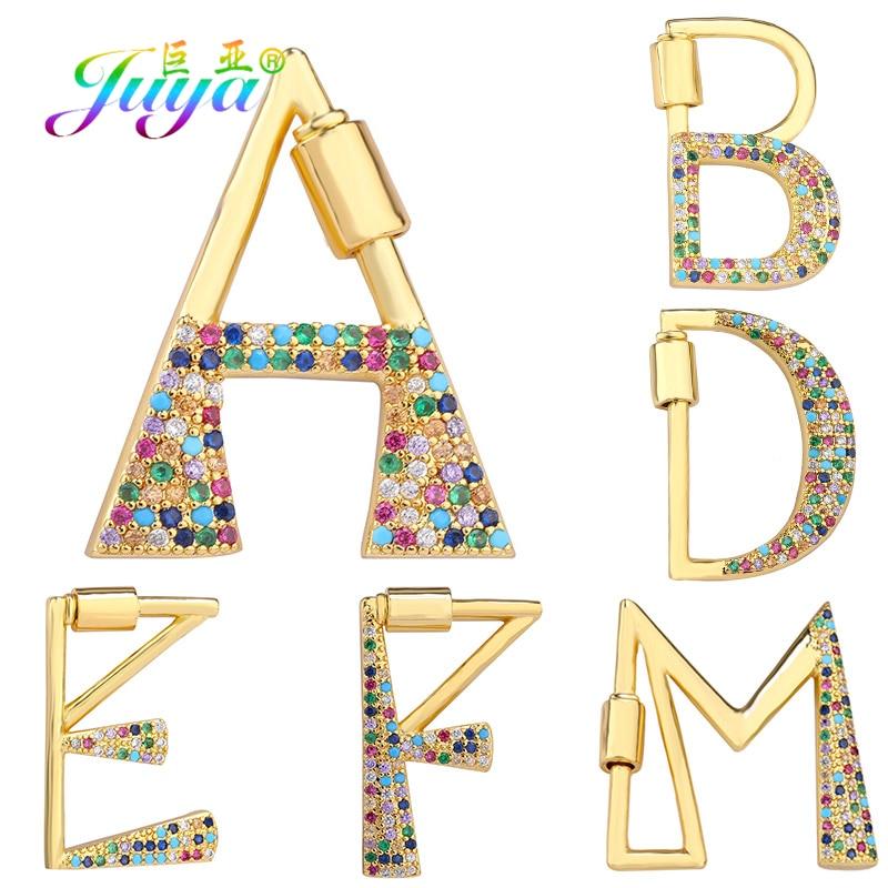 Juya DIY alfabeto arcoíris letra inicial mosquetón colgante tornillo cierre accesorios para colgante joyería de nombre hacer