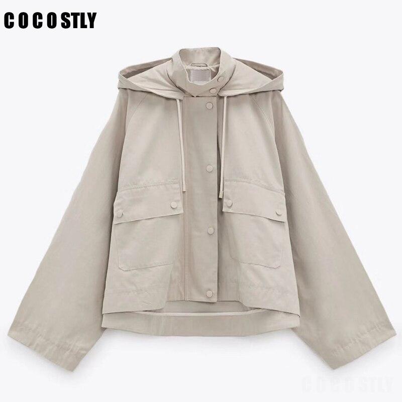 Женская куртка с капюшоном Za, Повседневная Свободная однотонная куртка на молнии с карманами, осень 2021