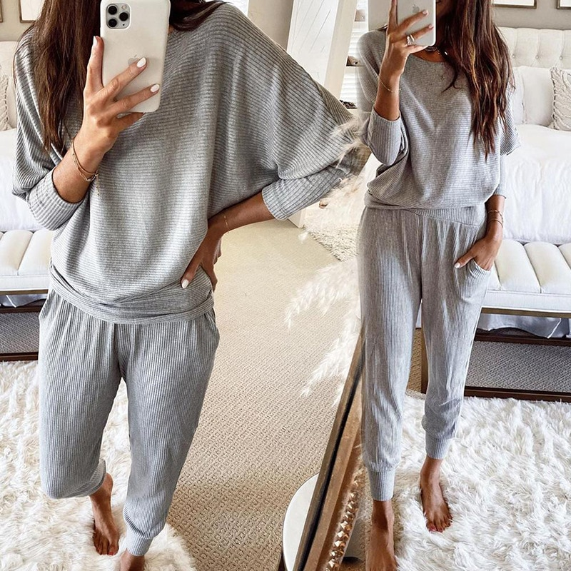 Women Two Piece Outfits Clothes for Women Clothing Women Knit Two Piece Set Lounge Set Sleep Tops Pa