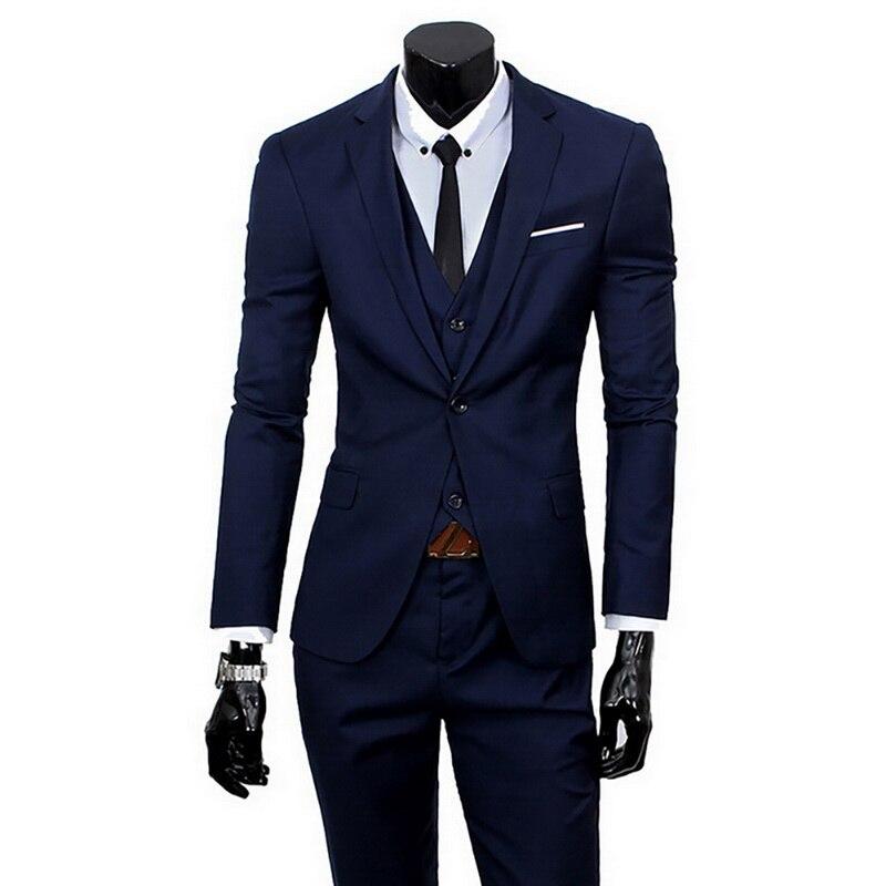 Oeak Men Spring 3 Pieces Classic Suit Sets Men Business Blazer +Vest +Pant Suits Sets Men Wedding Party Set High Quality