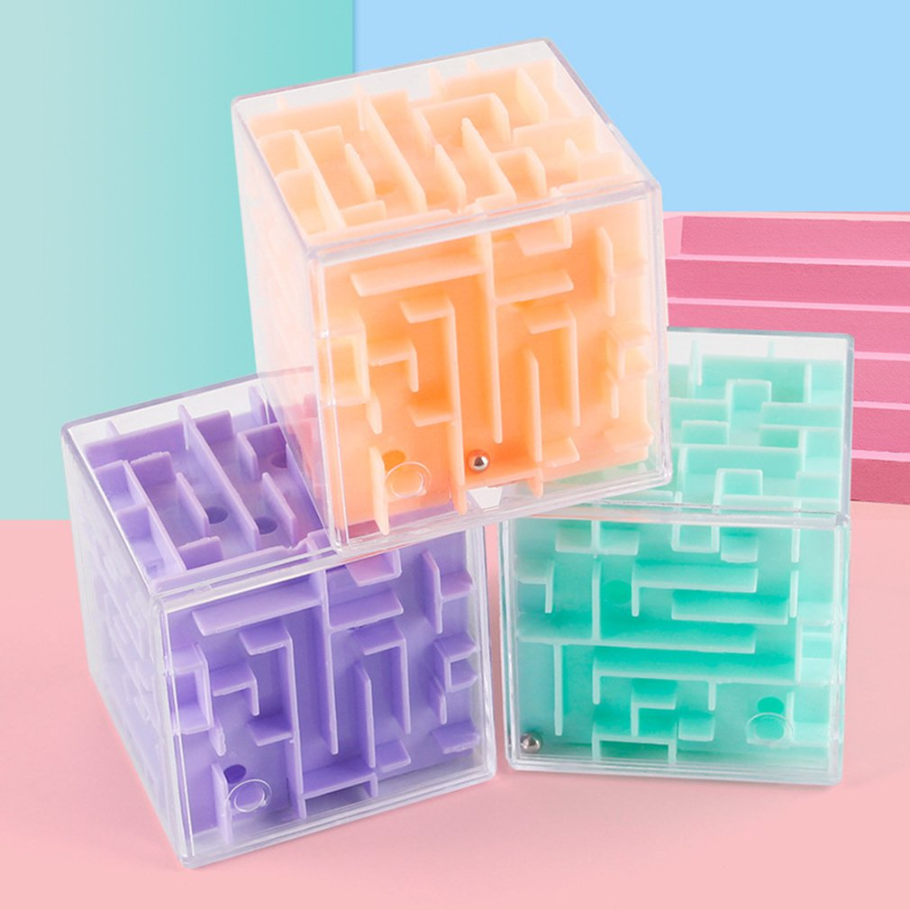1pc 3D Maze Ball Rotation Cube Professional Speed Puzzle Cube With Stickers Kids Brain Teaser Cube M