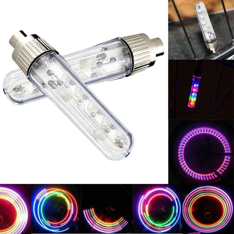Lumière de vélo 5 LED 8 modes pneu Valve bouchons roue accessoires lanterne vélo pour vélo vélo LED rayons lumière U5O4
