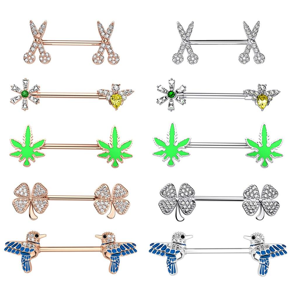 2 pçs 14g nipple rings planta pássaro forma piercing mamilo barbell conjunto claro cz 316l aço corpo piercing jóias para mulher masculino 16mm