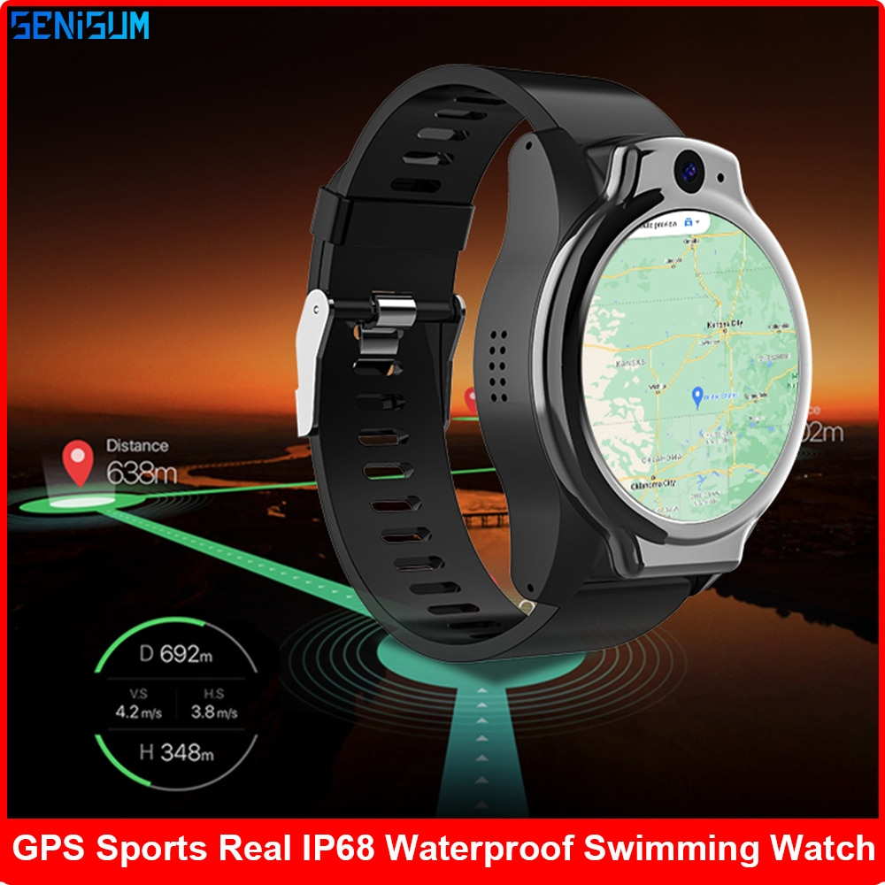Get 2021 New IP68 5ATM Waterproof 4G Smart Watch Men 4GB 64GB Dual Camera 13MP Android OS 10 Smartwatch WIFI GPS Sport Phone Watch