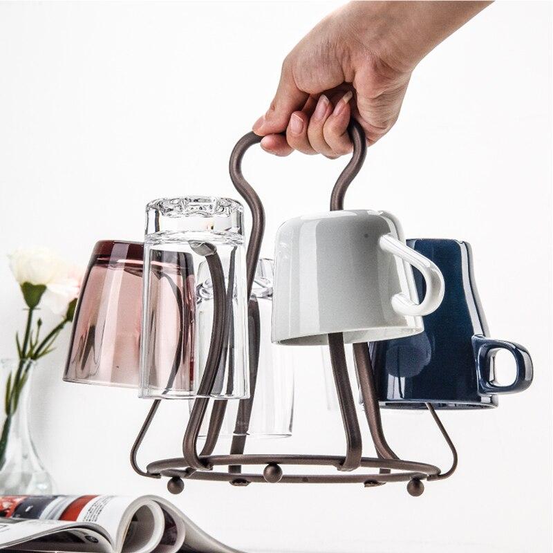 حامل أكواب زجاجي محمول عالي الجودة ، حامل تجفيف للشاي والقهوة ، لوازم المطبخ ، منظم منزلي