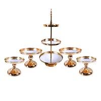 2pcs-5pcs mirror Wedding Decoration 2 or 3 Tier Cupcake Display Gold Metal Cake Stand