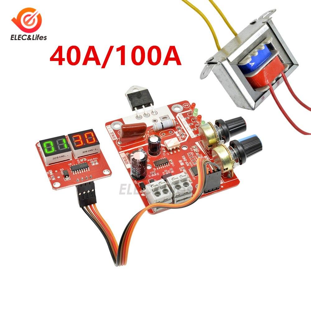 40A 100A Digital Spot Welding Machine Control spot Welder AC 110V/220V to 9V Transformer Controller Board Timing Current Display