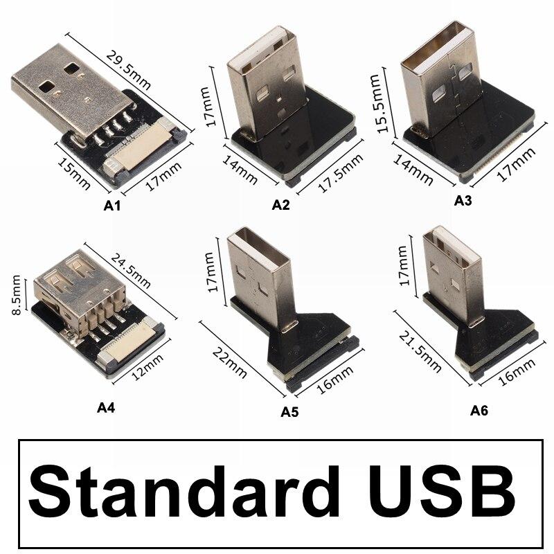 Conector USB 2,0 tipo A macho A tipo C macho arriba/ángulo inclinado...