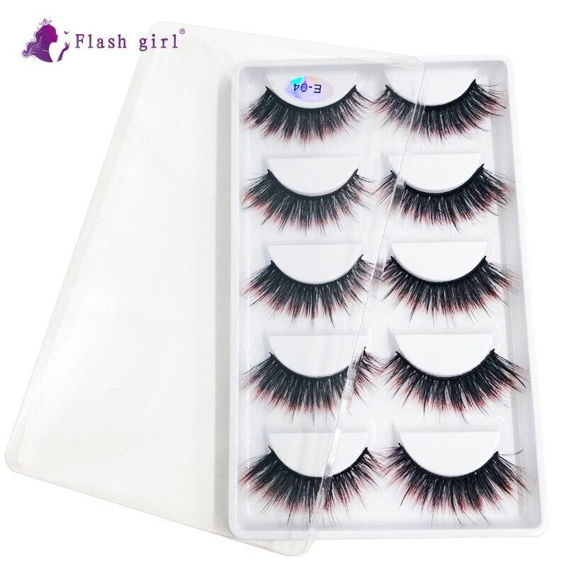 New 5 Pairs Mink Eyelashes Natural Thick Makeup Eyelash Extension Fluffy High Volume Full Strip Lash