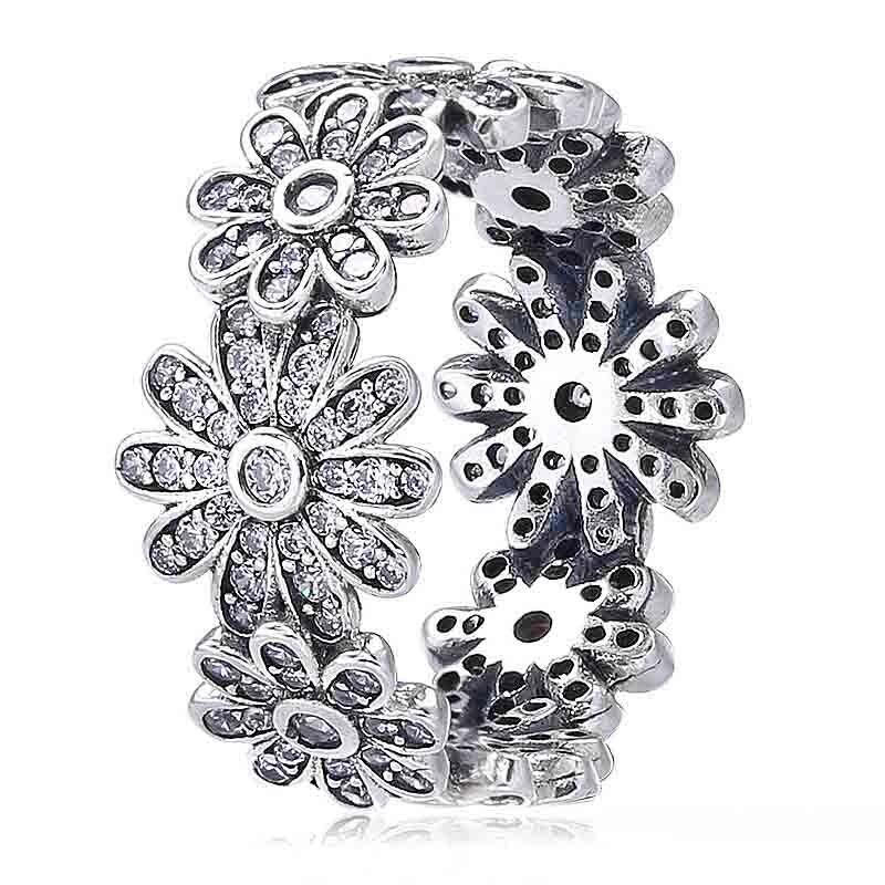 Nuevo anillo de Plata de Ley 925 Margarita flor pradera con anillos de cristal para mujeres regalo de fiesta de boda joyería fina