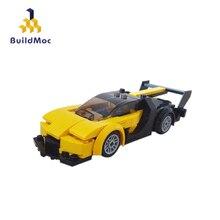 BuildMoc mini 11003 YellowTechnic Race Car Building Blocks Bricks Christmas Gift Bugatti car Chiron