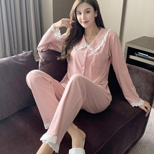 Ladies leisure and comfortable warm pajamas suit solid color cardigan long-sleeved trousers suit two-piece home suit JJF0055