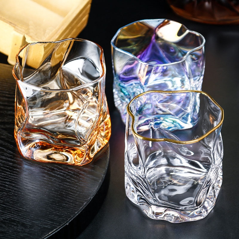 Ceative Design Whisky Glass 280ml  Crystal Glass Irregular Shape Cocktail Brandy Tequila Rum Vodka Spirit Sake Glass Wine Cup