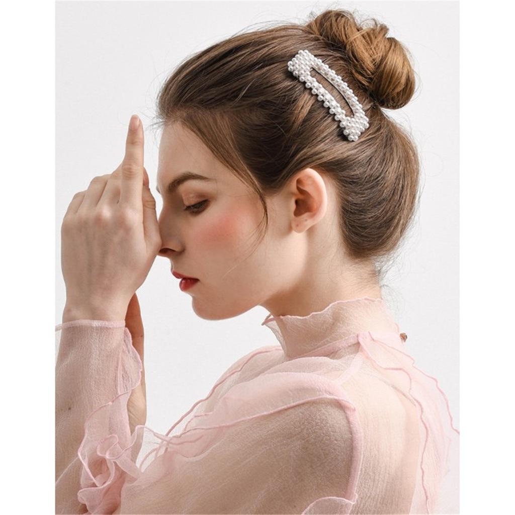 Perla Wanita Clip de pelo Buhok Clip accesorios de moda Clip para pelo bonito Barrette elegante chica Bang mujeres elegantes horquillas