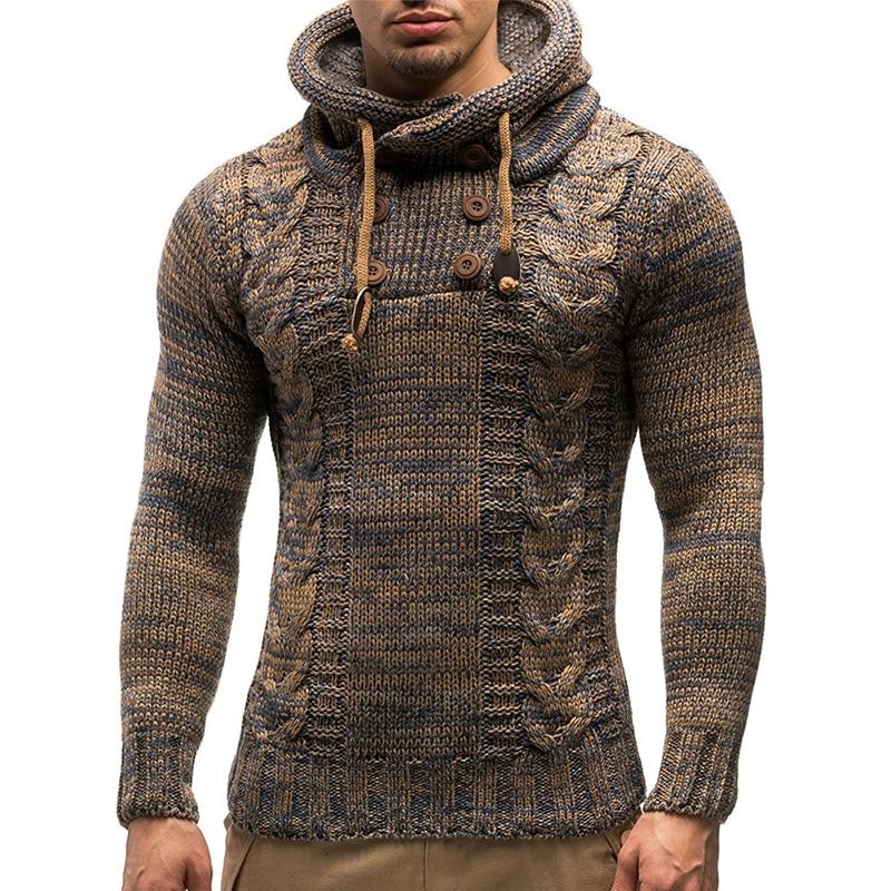 Мужской свитер сезона осень-зима 2021, теплый вязаный свитер, Мужской Повседневный пуловер с капюшоном, мужская хлопковая модная одежда
