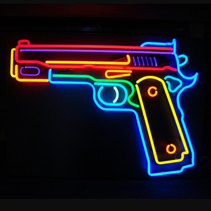 مخصص مسدس لعبة مسدسات ضوء النيون الزجاج تسجيل البيرة بار