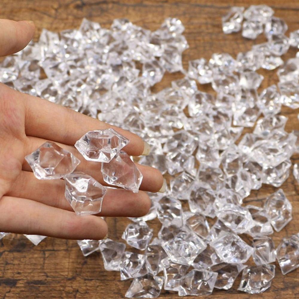 Jarrones rellenos acrílicos artificiales de 100 Uds., cubos falsos transparentes, cubos de hielo triturados para decoración de bodas y fiesta en casa