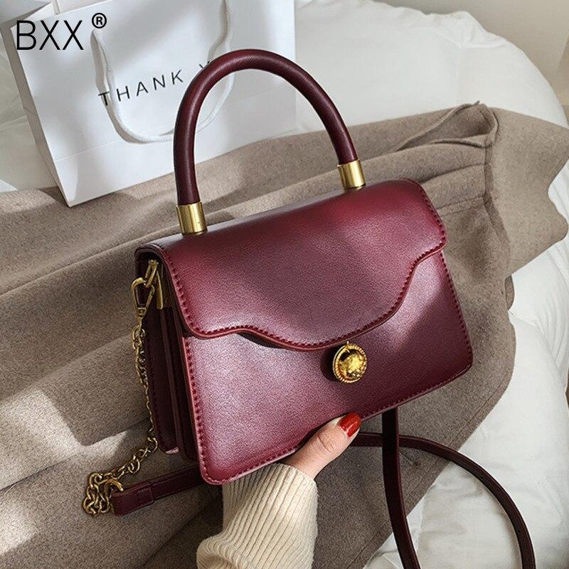 [BXX] Scrub PU Leather Chain Crossbody Bag 2021 Fashion High Quality Lady Travel Luxury Shoulder Handbag and Purses Totes HQ761