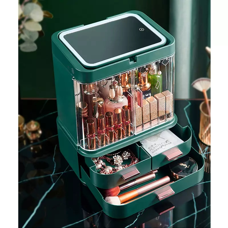 New Cosmetic Storage Box With Mirror Led Light Desktop Makeup Organizer Case Dust-Proof Drawer Type Organizer For Cosmetic