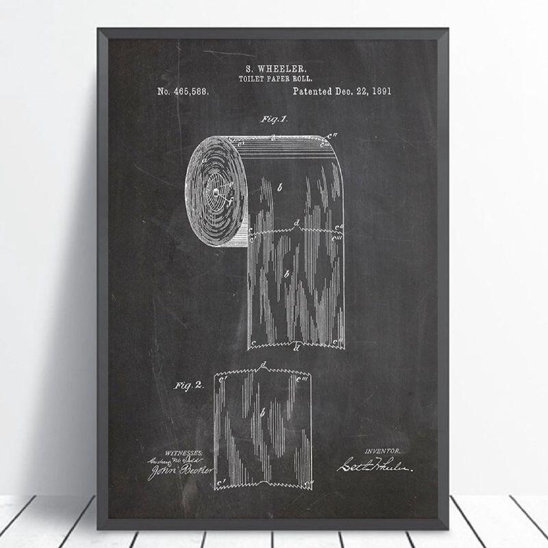 Papel higiénico patente Vinatge Poster baño pared arte impresiones, rollo de papel higiénico Blueprint lienzo pintura letrero de WC decoración para el hogar