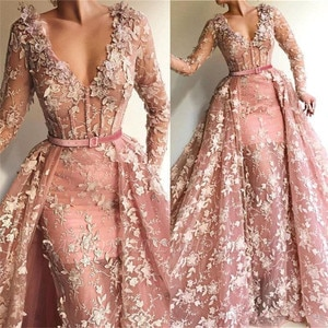 Pale Pink 3D Flowers Lace Prom Dresses with Detachable Train 2020 V-neck Long Sleeve Arabic Dubai Mermaid Occasion Evening Wear