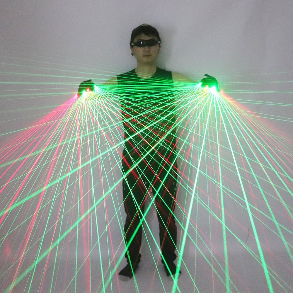 Новые высококачественные красные и зеленые лазерные перчатки 2 в 1, лазерные перчатки с множеством лучей для светодиодного светящегося кост...