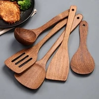 wooden kitchenware set long handle spatula rice scoop vegetable meat cooking shovel mixing spoons for nonstick pan kitchen tools